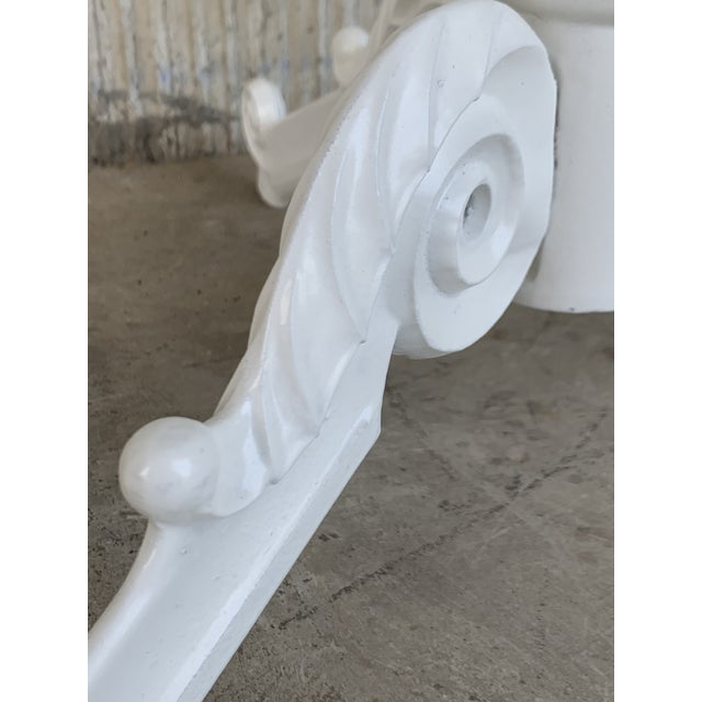 White 20th Century Round Cast Iron Base With Marble Top Garden Table or Bistro Table For Sale - Image 8 of 9