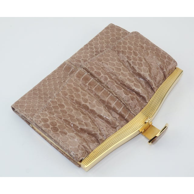 Judith Leiber Judith Leiber Taupe Snakeskin Wallet For Sale - Image 4 of 13