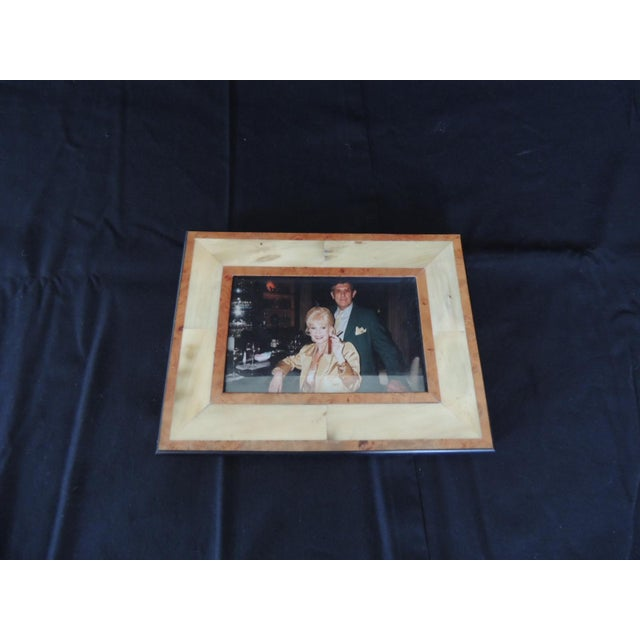 Real Gucci inlaid wood picture frame. Spalted maple wood center frame and bird's-eye maple and ebonized trim all around....