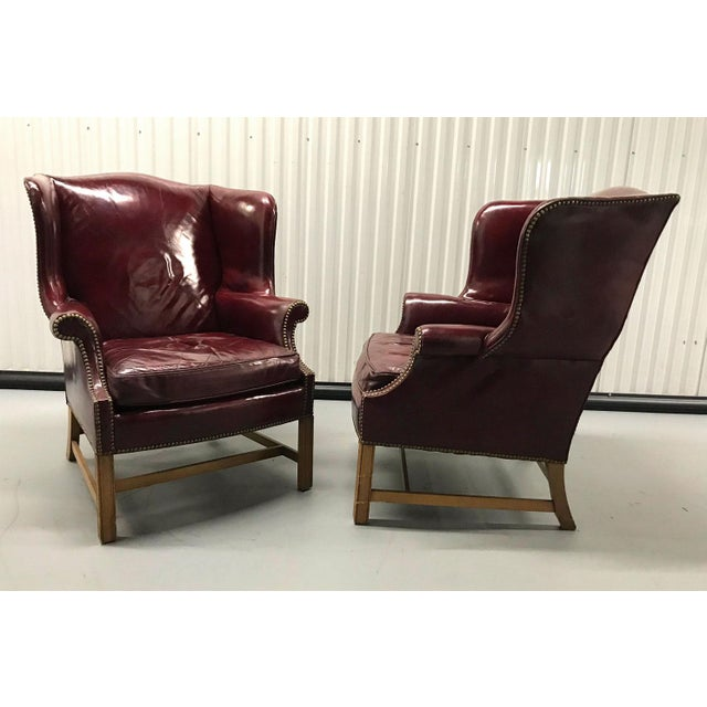 Red Vintage Leather Wingback Chairs — a Pair For Sale - Image 8 of 13