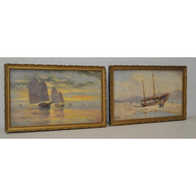 Impressionism Early 20th Century Maritime Paintings by Thomas G. Purvis - a Pair For Sale - Image 3 of 8