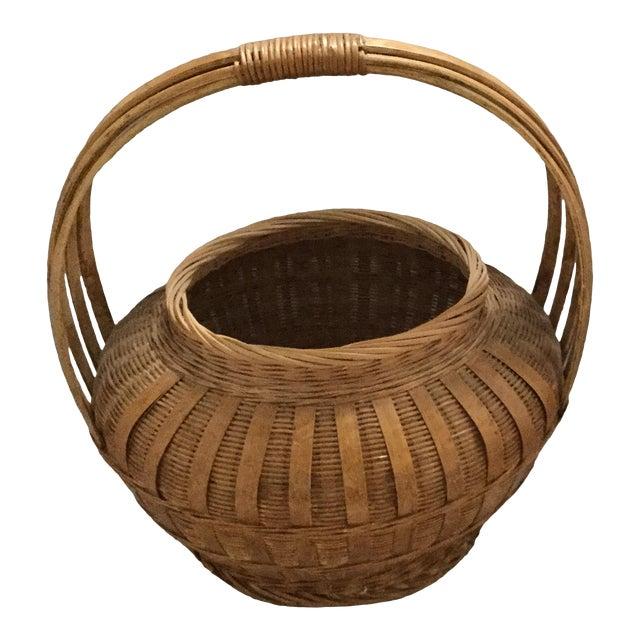 Japanese Woven Susutake Smoked Bamboo Basket For Sale