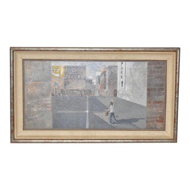 Inner City Basketball Court Oil Painting c.1970s For Sale
