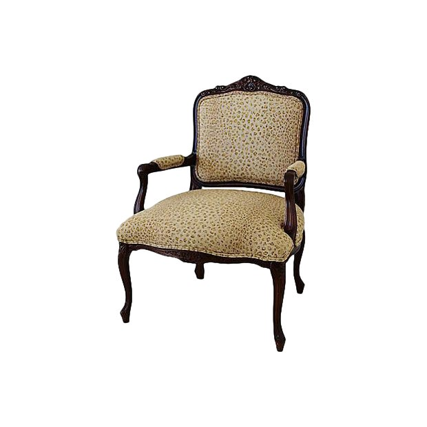 Ralph Lauren Leopard Cheetah Animal Spot Linen Fabric Vintage Carved Armchair Chair For Sale