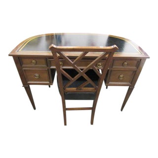 Sligh Leather Top Ladies Writing Desk & Chair