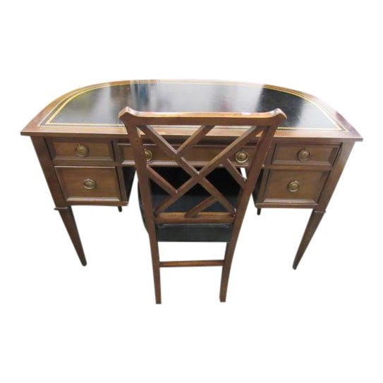 Sligh Leather Top Ladies Writing Desk & Chair For Sale