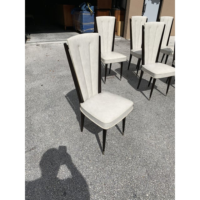 1940s Vintage French Art Deco Solid Mahogany Dining Chairs- Set of 6 For Sale - Image 9 of 12