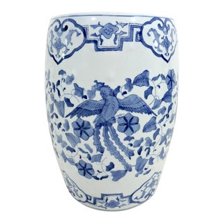Vintage 'Rising Phoenix & Dragon' Blue and White Chinese Porcelain Drum Stool For Sale