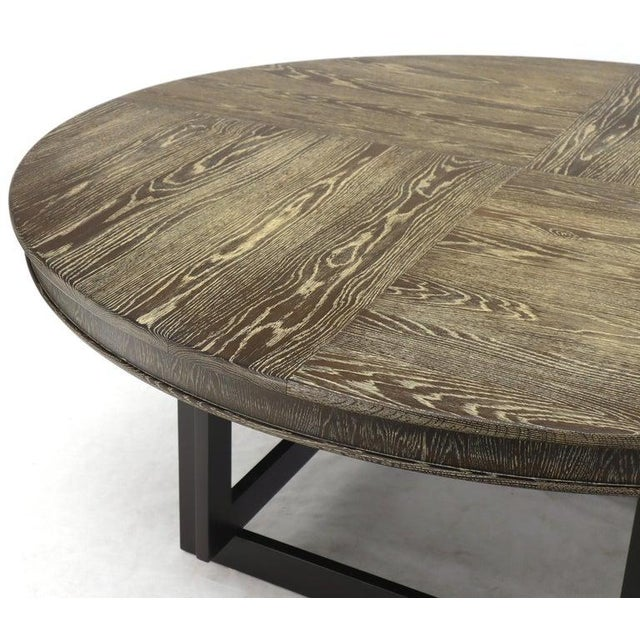 Mid-Century Modern Large Oversize in Diameter Round Cerused Limed Oak Dining Table For Sale - Image 3 of 13