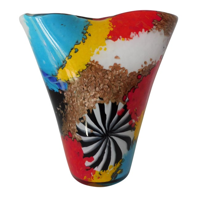 Dino Martens for Aureliano Toso Murano Oriente Patchwork With Pinwheel Vase For Sale