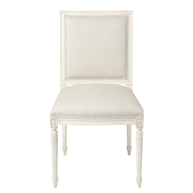 Schumacher Marie Therese Eureka Woven Ziggurat Hand-Carved Beechwood Side Chair For Sale