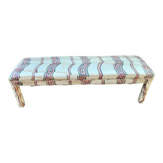Late 20th Century Upholstered Parsons-Style Bench For Sale