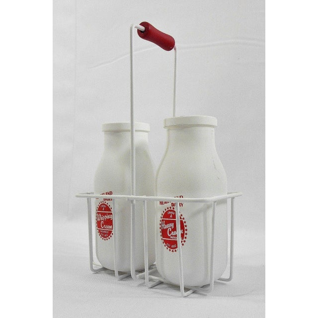 Retro White Glass Cream Bottles and Metal Carrier - Image 8 of 10