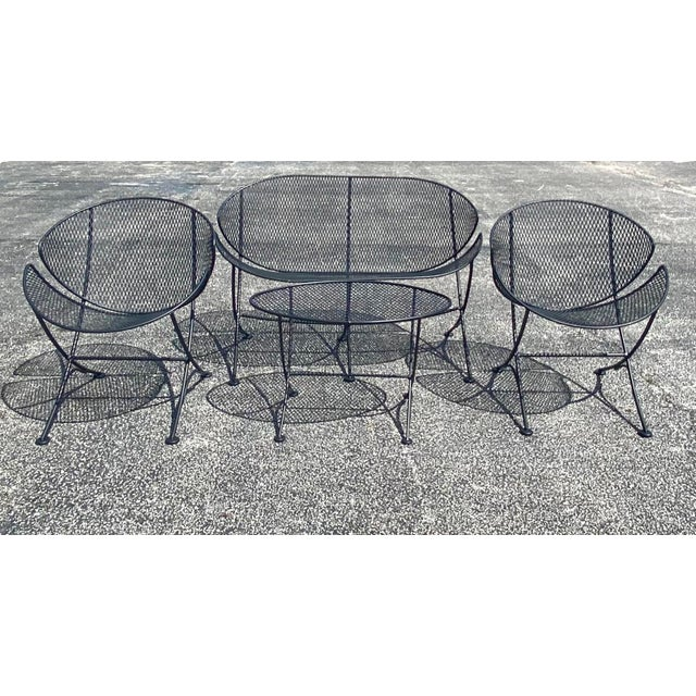 Metal Midcentury Salterini Clamshell Patio Set For Sale - Image 7 of 12