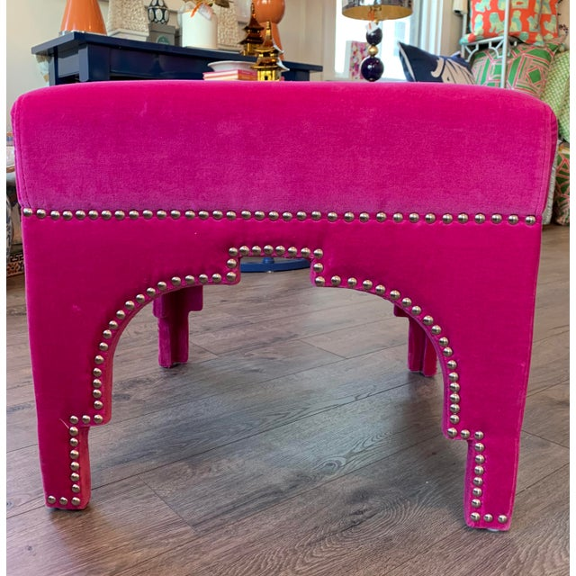 Add a pop of pink and some moroccan flair to any room of the house! Lush pink velvet and nickel nailhead trim makes this...