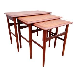 1970s Mid-Century Danish Svendborg Mobler Teak Nesting Tables - Set of 3 For Sale