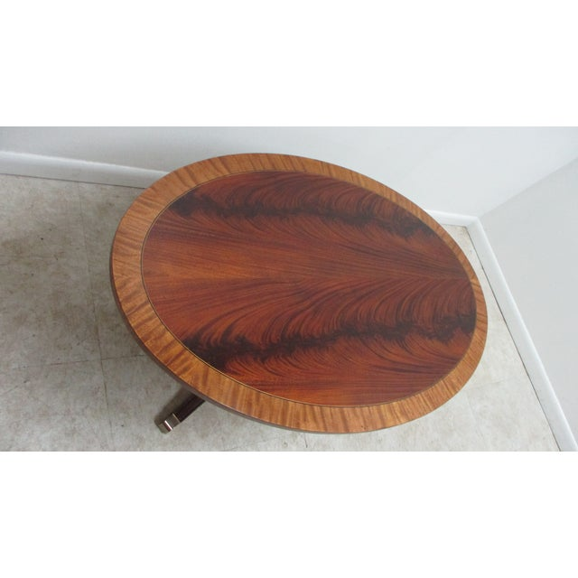 1990s Ethan Allen Flame 18th Mahogany Oval Coffee Table Newport For Sale - Image 5 of 13