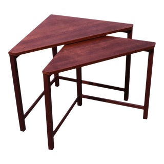 Danish Modern Vintage Teak Triangle Corner Nesting Tables For Sale