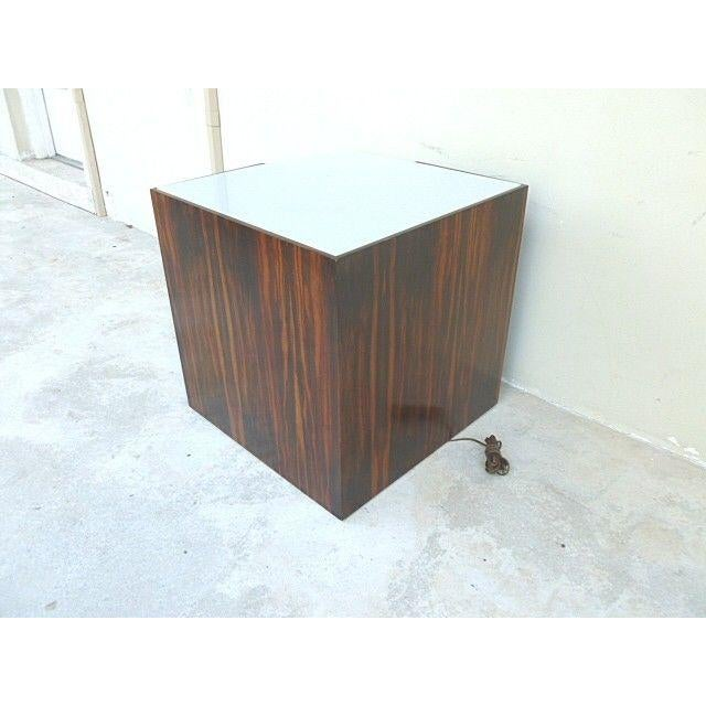 1970s 1970s Mid Century Modern Rosewood & Acrylic Floor Lamp Table For Sale - Image 5 of 13
