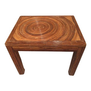 Pencil Reed Rattan Side End Table For Sale