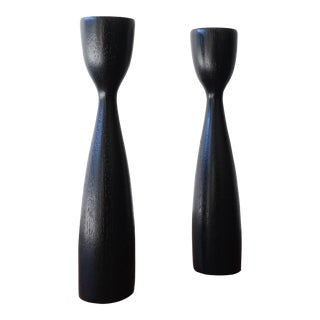 Ebonized Danish Candlesticks - A Pair