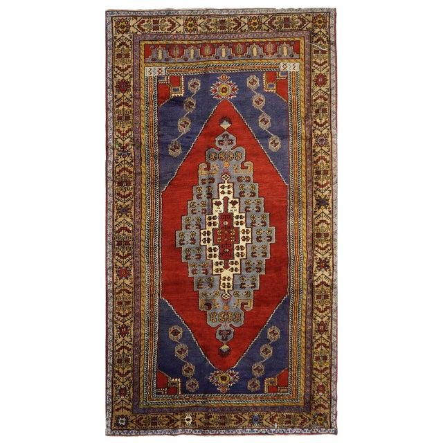 Vintage Turkish Oushak Rug - 4'10'' x 9'11'' For Sale