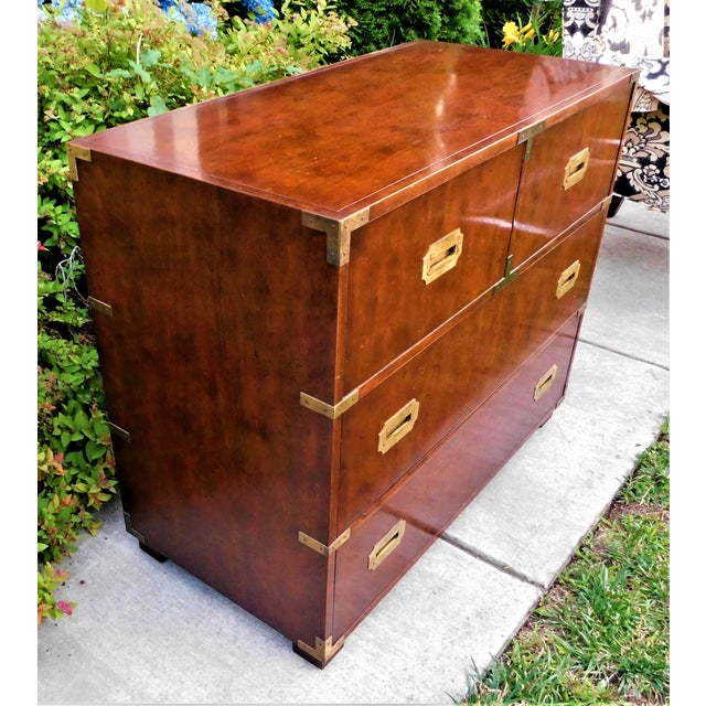 Campaign Vintage Baker Furniture Campaign Chest of Drawers For Sale - Image 3 of 6