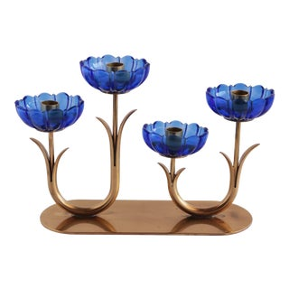 Gunnar Ander Ystad-Metall Blue Flower & Brass Candleholder For Sale