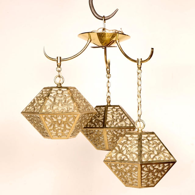 3-Tier Hanging Brass Chinoiserie Lamp - Image 2 of 5