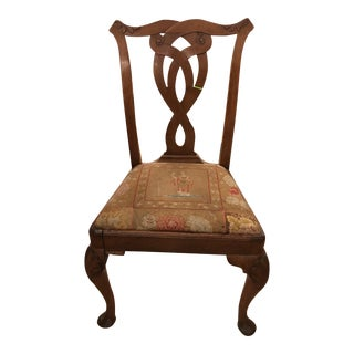 Antique 18th Century Chippendale Side Chair w Petit Point Seat