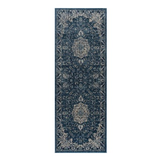 Journey Karina Traditional Medallion Navy Runner Rug - 2' x 8'