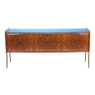 Italian Walnut Glass Top Sideboard For Sale