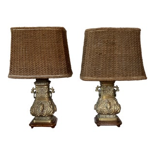 1950s James Mont Style Chinese Archaistic Brass Table Lamps - a Pair For Sale