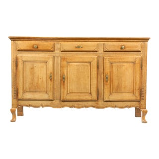 Antique Early 19th Century French Country-Style Oak Buffet Hand Carved With Hoof Feet For Sale
