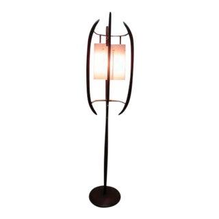 Mid-Century Walnut Floor Lamp For Sale