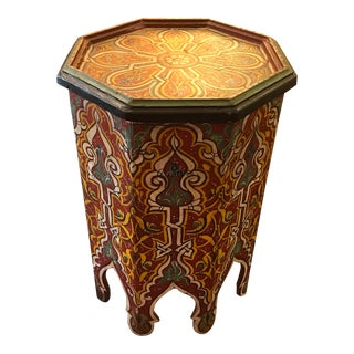 Hand Painted Moroccan Wood Side/ Drinks Table For Sale