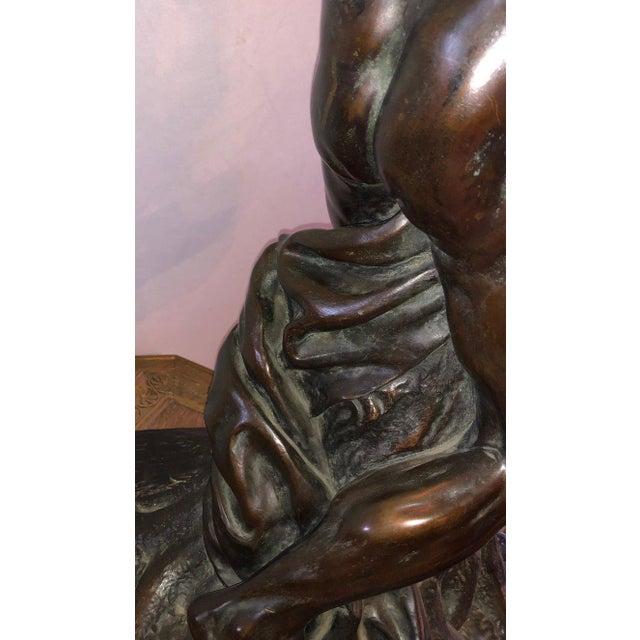Metal After Edme Dumont 19th Cent Large Bronze Depicting Male Figure of Milo De Croton For Sale - Image 7 of 13