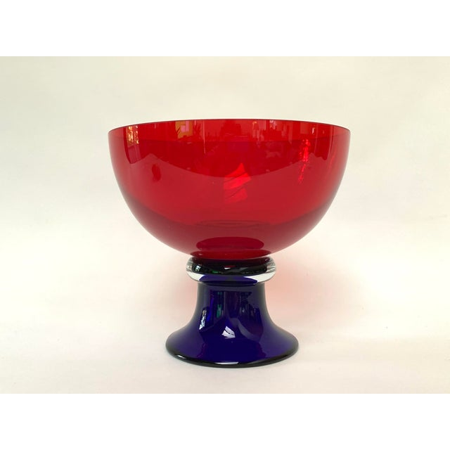 Memphis Style Footed Glass Bowl For Sale - Image 10 of 10