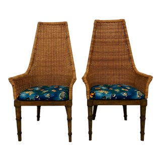 20th Century Wicker Woven Basket Faux Bamboo Chairs- A Pair For Sale