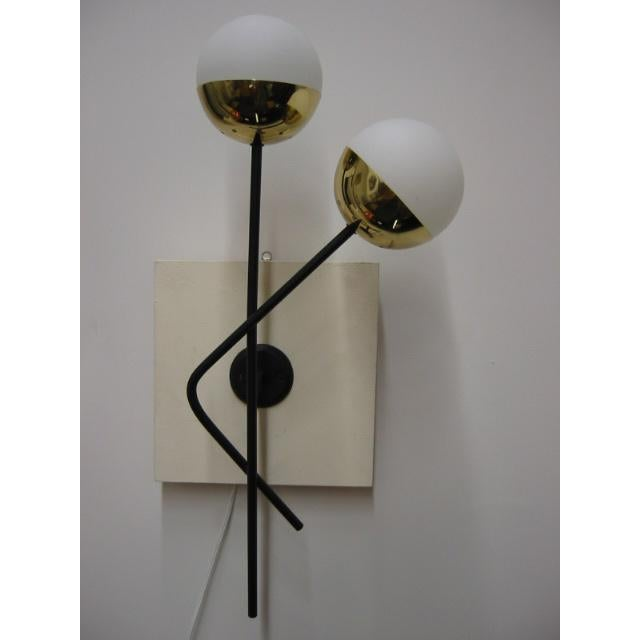 Murano glass and brass Stilnovo sconces, Circa 1970.