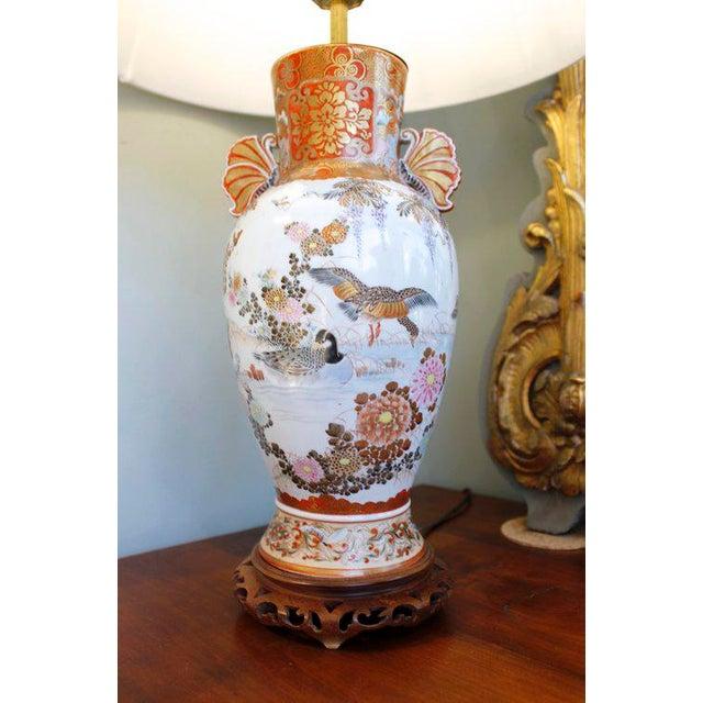 Asian Japanese Satsuma Ware Vase Lamp For Sale - Image 3 of 11