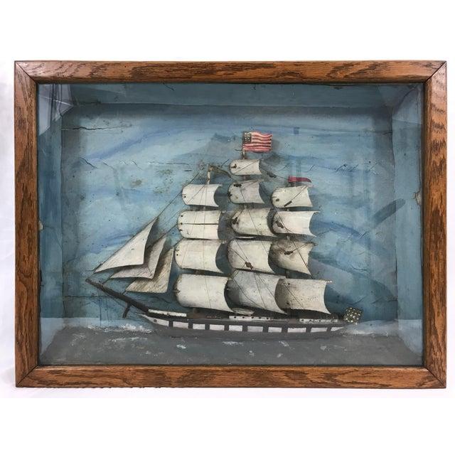 Wood American Folk Art Sailing Ship Diorama For Sale - Image 7 of 7