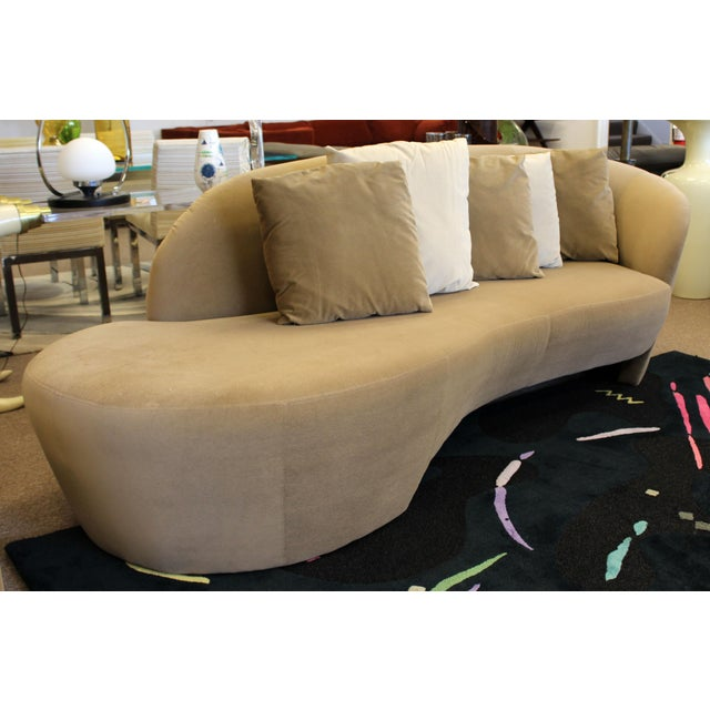 Textile 1980s Vintage Contemporary Modern Kagan for Weiman Preview Serpentine Sculptural Sofa Chaise For Sale - Image 7 of 9