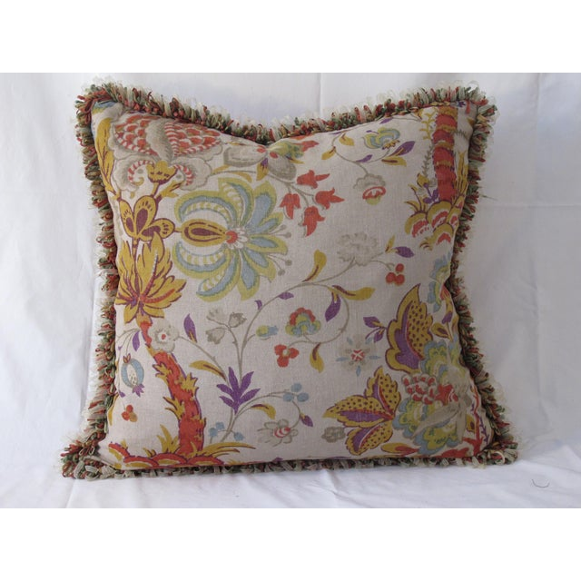 Vintage Printed Linen Pillow For Sale - Image 4 of 4