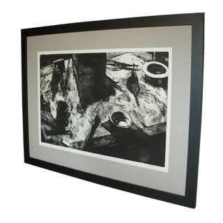 "Large Abstract ""Drawing Board"" Black and White Etching For Sale"