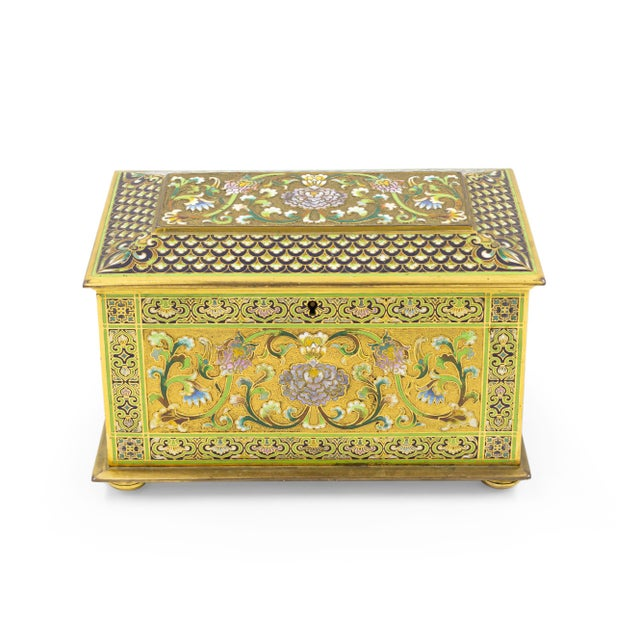 French French Victorian Bronze and Enamel Box For Sale - Image 3 of 6