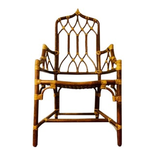 1960s Vintage Oriental Bamboo Side Chair For Sale