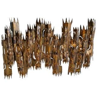 Brutalist Torch Cut Wall Sculpture Candelabrum by Tom Greene, Feldman For Sale