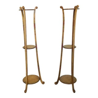 Pair Adams Satinwood Paint Decorated Plant Stands For Sale