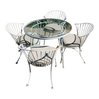 """Woodard Mid-Century Modern Wrought Iron """"Pinecrest"""" Garden Chairs and Table - Set of 5 For Sale"""